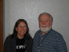 (l to r) Interviewer Kim Flanders and Harry Thomas