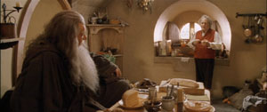 Gandalf pays a visit to Bilbo.
